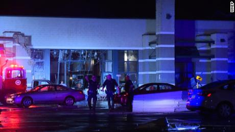Storms leave the Arena Hub Plaza shopping center damaged Wednesday in eastern Pennsylvania.