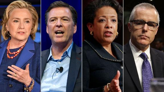 From left, Hillary Clinton, James Comey, Loretta Lynch, Andrew McCabe
