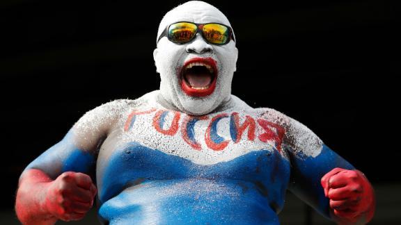 A fan wears body paint in Russia