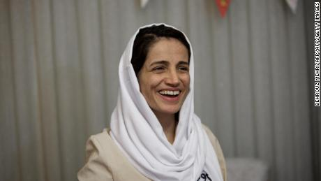 Iranian lawyer Nasrin Sotoudeh at her home in Tehran on September 18, 2013, after being freed following three years in prison.