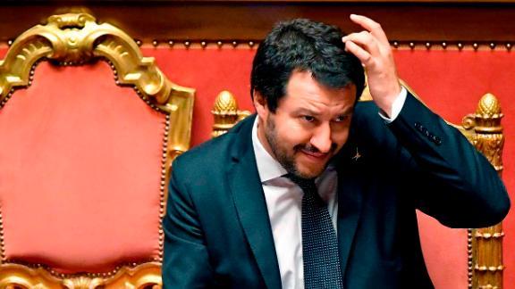 Interior Minister Matteo Salvini speaks Wednesday in the Italian Senate about the migrant ship Aquarius.