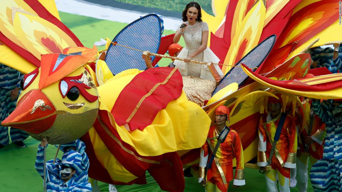 Russian soprano Aida Garifullina sings during the opening ceremony.