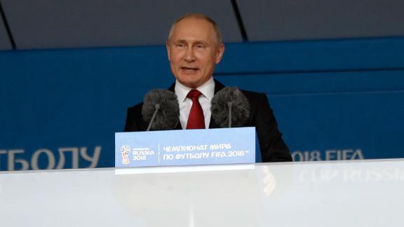 Russian President Vladimir Putin speaks to the crowd before kickoff at the Luzhniki Stadium.