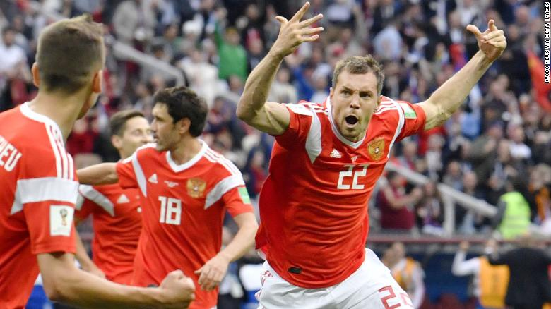 Artem Dzyuba of Russia celebrates after scoring a goal in a match against Saudi Arabia at World Cup finals in Moscow on June 14, 2018. (Kyodo) ==Kyodo (Photo by Kyodo News via Getty Images)