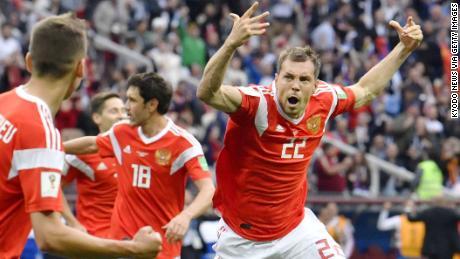 Artem Dzyuba from Russia celebrates with a goal in a match against Saudi Arabia.