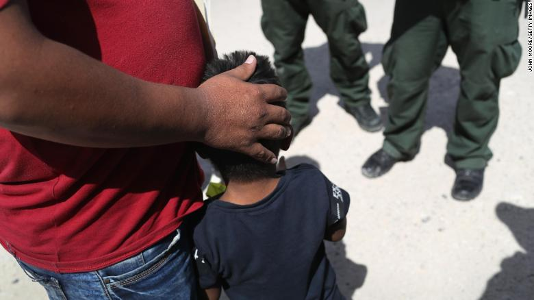 U.S. Border Patrol agents take a father and son from Honduras into custody near the U.S.-Mexico border on June 12, 2018 near Mission, Texas. The asylum seekers were then sent to a U.S. Customs and Border Protection (CBP) processing center for possible separation. U.S. border authorities are executing the Trump administration's zero tolerance policy towards undocumented immigrants. U.S. Attorney General Jeff Sessions also said that domestic and gang violence in immigrants' country of origin would no longer qualify them for political-asylum status. John Moore/Getty Images