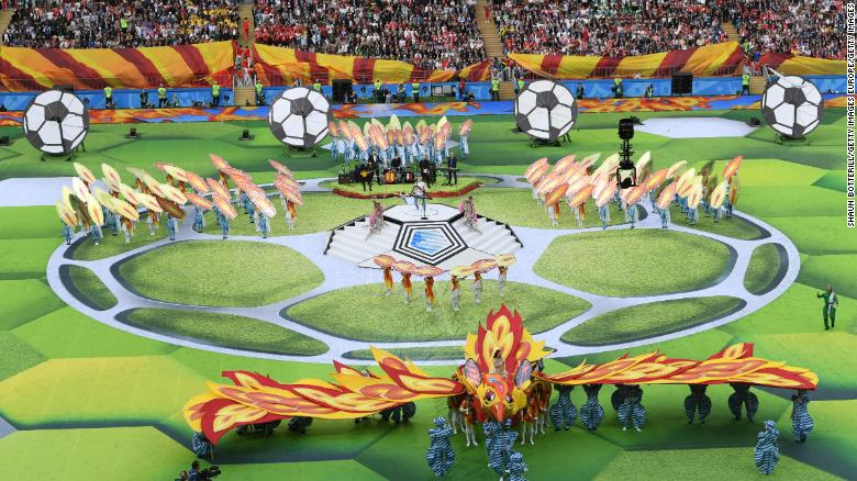 MOSCOW, RUSSIA - JUNE 14:  Artists perform in the Opening Ceremony prior to the 2018 FIFA World Cup Russia Group A match between Russia and Saudi Arabia at Luzhniki Stadium on June 14, 2018 in Moscow, Russia.  (Photo by Shaun Botterill/Getty Images)