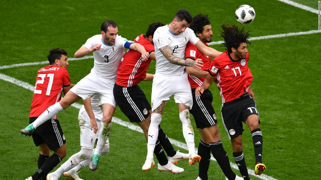 Uruguayan defender Jose Gimenez, third from right, heads in the only goal in Friday's victory over Egypt. The winner came off a free kick in the 89th minute.