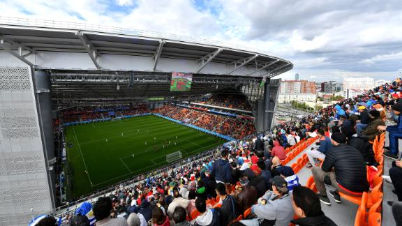 Fans watch the Egypt-Uruguay match from temporary seats set up at the Ekaterinburg Arena. The seats had to be installed to meet FIFA