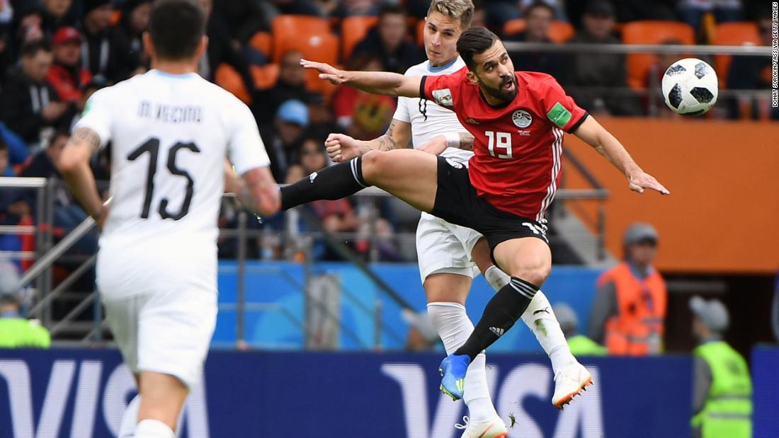 Egyptian midfielder Abdallah Said heads the ball during the match against Uruguay.