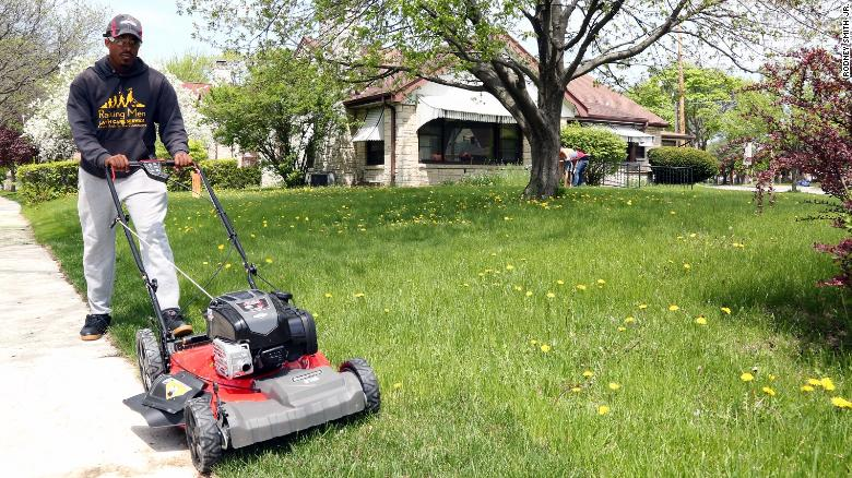 a man is traveling to all 50 states to mow lawns