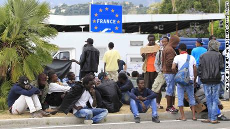 Migrants waiting at the border between Italy and France in the city of Ventimiglia, Italy, in June 2015.
