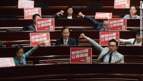 Pro democracy lawmakers react after the Hong Kong Legislative council passed the Guangzhou-Shenzhen-Hong Kong Express Rail Link (Co-location) Bill on June 14.