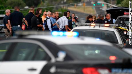Police investigate the scene of a shooting in Westminster, Colorado, on June 14, 2018.