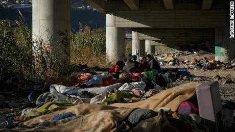 An informal camp set up by migrants under a flyover in Ventimiglia.