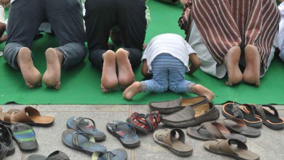 Muslim devotees pray in Hyderabad, India.