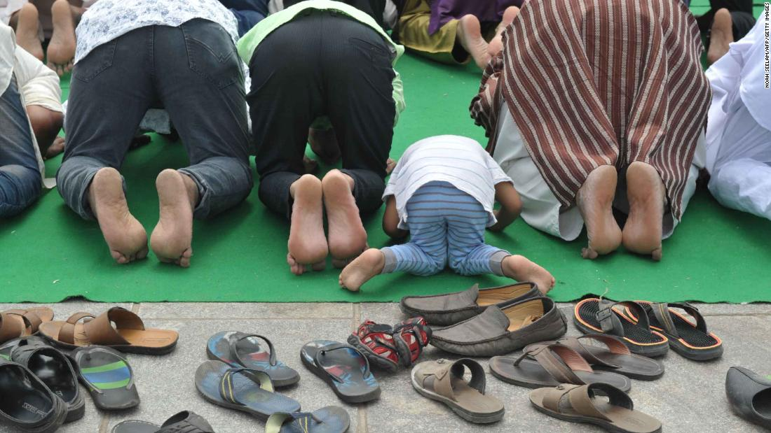 Muslim devotees pray in Hyderabad, India.
