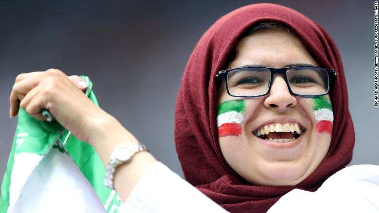 SAINT PETERSBURG, RUSSIA - JUNE 15:  An Iran fan enjoys the pre match atmosphere prior to the 2018 FIFA World Cup Russia group B match between Morocco and Iran at Saint Petersburg Stadium on June 15, 2018 in Saint Petersburg, Russia.  (Photo by Richard Heathcote/Getty Images)