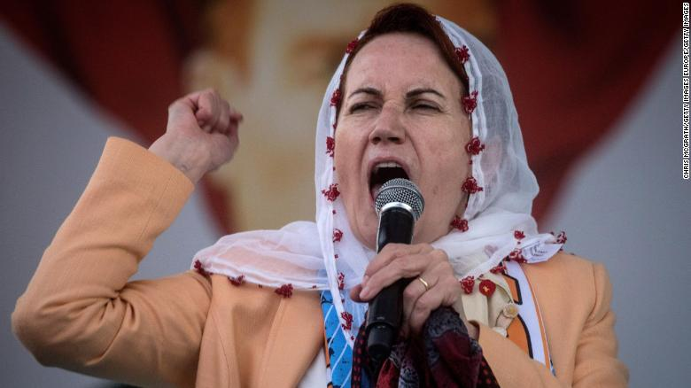 ADANA, TURKEY - JUNE 01:  Leader of Turkey's Iyi (Good) Party and presidential candidate, Meral Aksener speaks to supporters at a rally on June 1, 2018 in Adana, Turkey. Meral Aksener and party members campaigned in Hatay, Adana and surrounding areas ahead of the June 24, 2018 parliamentary and presidential elections. Aksener is one of six candidates contesting the snap elections called by Turkey's President Recep Tayyip Erdogan.  (Photo by Chris McGrath/Getty Images)