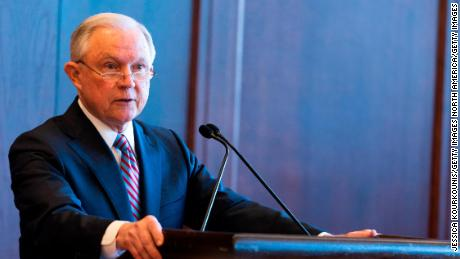 U.S. Attorney General Jeff Sessions delivers remarks on immigration and law enforcement actions on at Lackawanna College June 15, 2018 in Scranton, Pennsylvania. The audience was an invited a group of federal, state and local law enforcement as well as local police academy cadets. (Jessica Kourkounis/Getty Images)