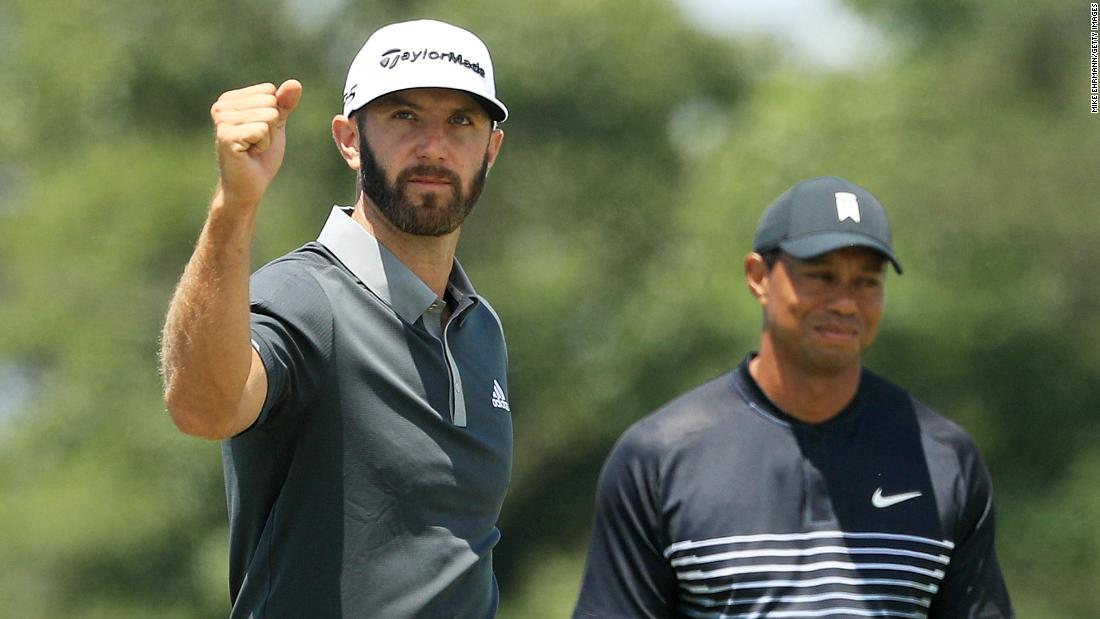 <strong>Day two:</strong> Then and now. World No.1 Dustin Johnson led by four at halfway as former top-ranked Tiger Woods missed the cut at Shinnecock Hills.