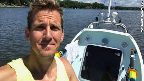 Bryce Carlson, a 37-year-old high school teacher in Cincinnati, Ohio, aims to be the first American to row solo, unsupported across the north Atlantic Ocean.