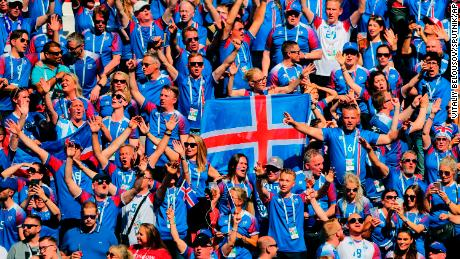 Iceland's fans cheer during the 1-1 draw with Argentina.