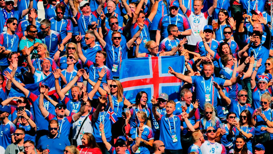 Iceland's fans cheer during the Argentina match. It was the country's first appearance in the World Cup.
