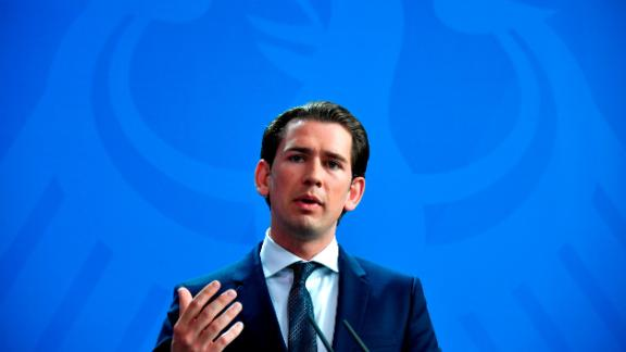 Austrian Chancellor Sebastian Kurz attends a joint press statement with German chancellor at the Chancellery in Berlin, on June 12, 2018, as Austria prepares to take over the rotating presidency of the EU. (Photo by John MACDOUGALL / AFP)        (Photo credit should read JOHN MACDOUGALL/AFP/Getty Images)