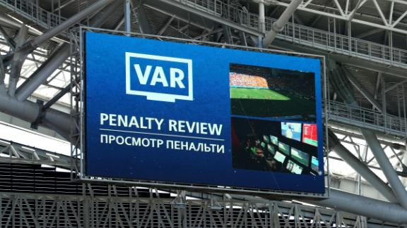 The VAR decision appears on the big screen inside the Kazan Arena.