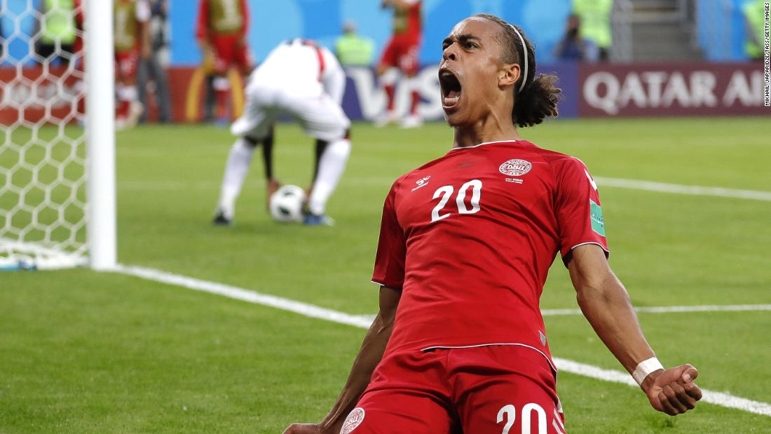 Denmark's Yussuf Poulsen reacts after he scored a goal against Peru. It turned out to be the only goal in the match.
