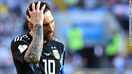 Argentina's forward Lionel Messi reacts during the Russia 2018 World Cup Group D football match between Argentina and Iceland at the Spartak Stadium in Moscow on June 16, 2018. (Photo by Mladen ANTONOV / AFP) / RESTRICTED TO EDITORIAL USE - NO MOBILE PUSH ALERTS/DOWNLOADS        (Photo credit should read MLADEN ANTONOV/AFP/Getty Images)