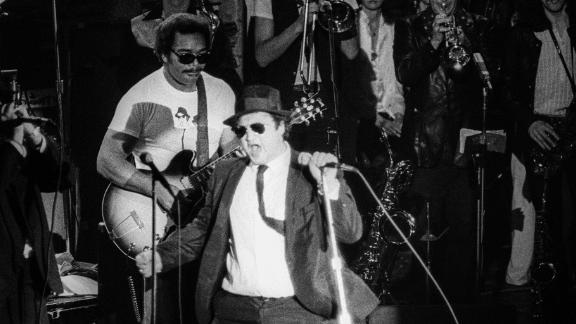 The Blues Brothers perform in concert at Winterland Arena on December 31, 1978, in San Francisco.
