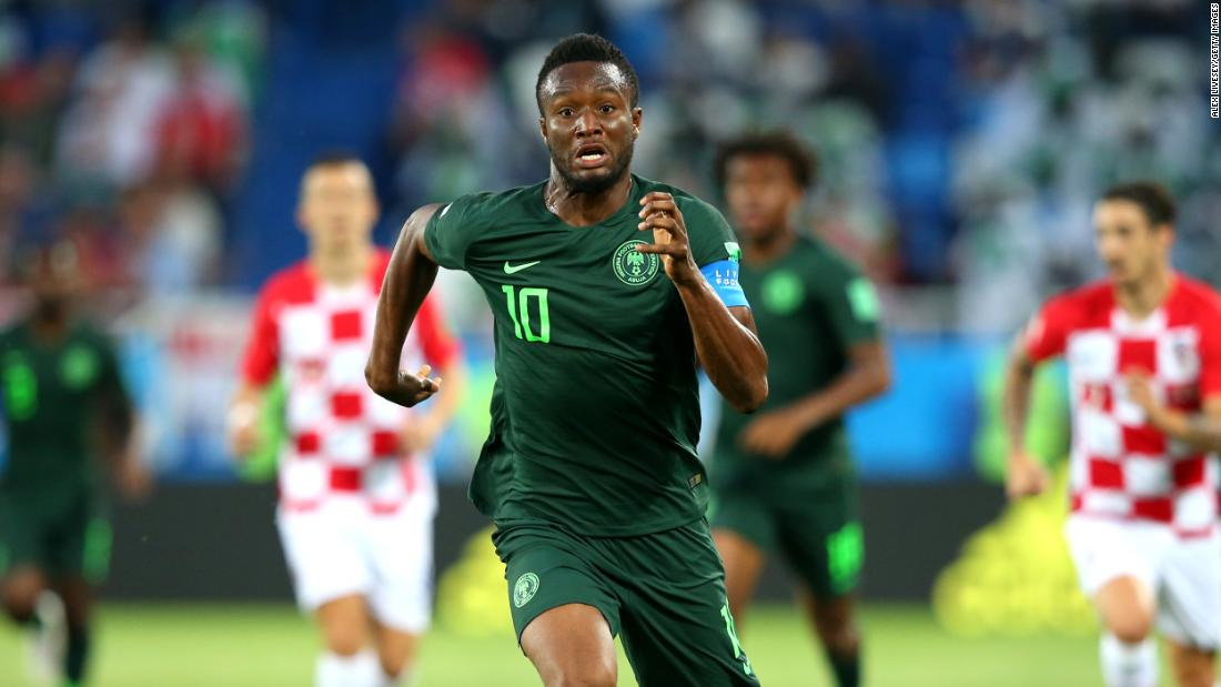 Nigerian captain John Obi Mikel runs with the ball during the Croatia match.