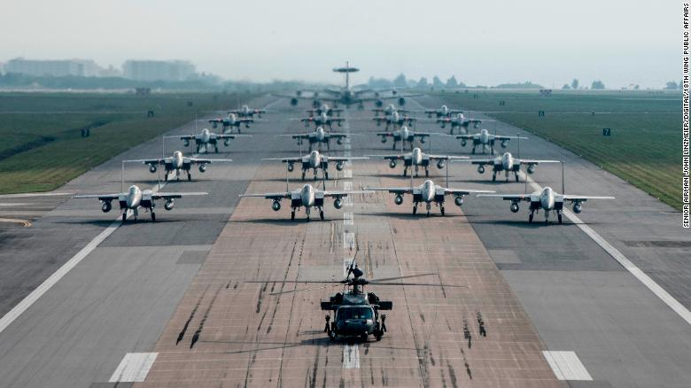 """US military aircraft conduct an """"elephant walk"""" exercise at Kadena Air Base on Okinawa in 2017. Experts fear US forces in Japan are concentrated on too few bases."""