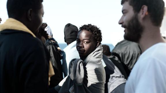A migrant on board the rescue ship Aquarius bound for Spain.