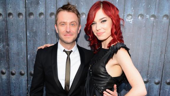 Chris Hardwick and then-girlfriend Chloe Dykstra in June 2014.