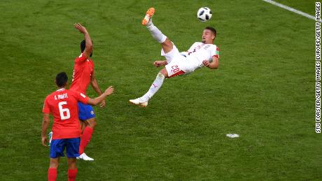 Sergej Milinkovic-Savic of Serbia attempts an overhead kick on goal during the 2018 FIFA World Cup Russia group E match between Costa Rica and Serbia.