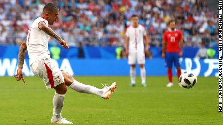 Aleksandar Kolarov of Serbia scores from a free kick during the 2018 FIFA World Cup Russia group E match against Costa Rica.