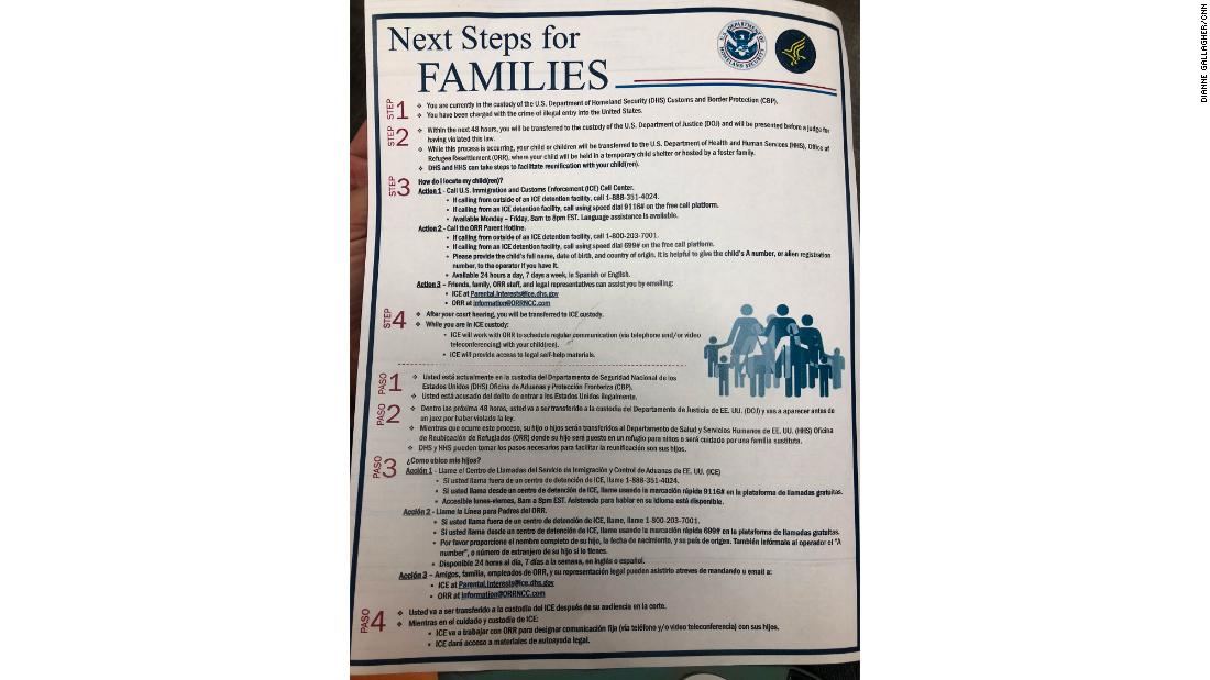 The handout parents get as they're separated from their children