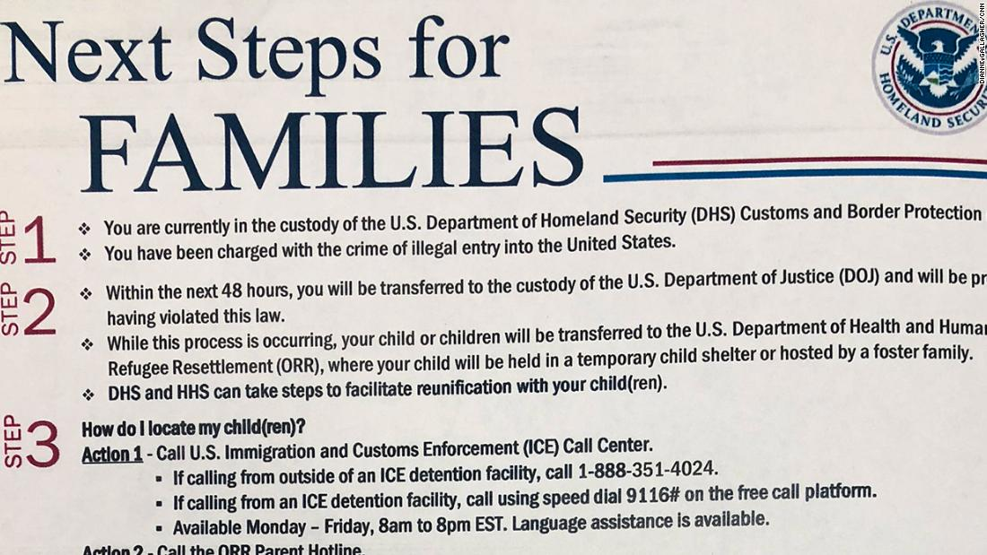 Immigrant parents get this handout before they're separated from their children