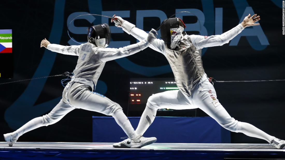 Italy΄s Daniele Garozzo, left, competes against Czech Republic΄s Alexander Choupenitch at the Fencing European Championships on Saturday, June 16.