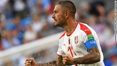 Serbia's defender Aleksandar Kolarov celebrates after scoring during the Russia 2018 World Cup Group E football match between Costa Rica and Serbia at the Samara Arena in Samara on June 17, 2018. (Photo by EMMANUEL DUNAND / AFP) / RESTRICTED TO EDITORIAL USE - NO MOBILE PUSH ALERTS/DOWNLOADS        (Photo credit should read EMMANUEL DUNAND/AFP/Getty Images)