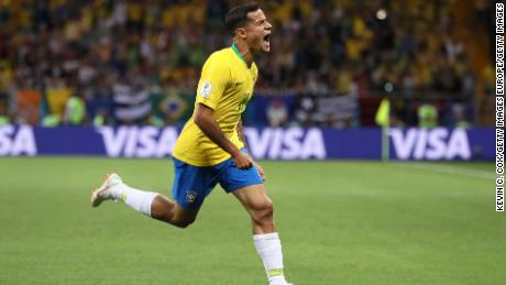 ROSTOV-ON-DON, RUSSIA - JUNE 17:  Philippe Coutinho of Brazil celebrates after scoring his team's first goal during the 2018 FIFA World Cup Russia group E match between Brazil and Switzerland at Rostov Arena on June 17, 2018 in Rostov-on-Don, Russia.  (Photo by Kevin C. Cox/Getty Images)