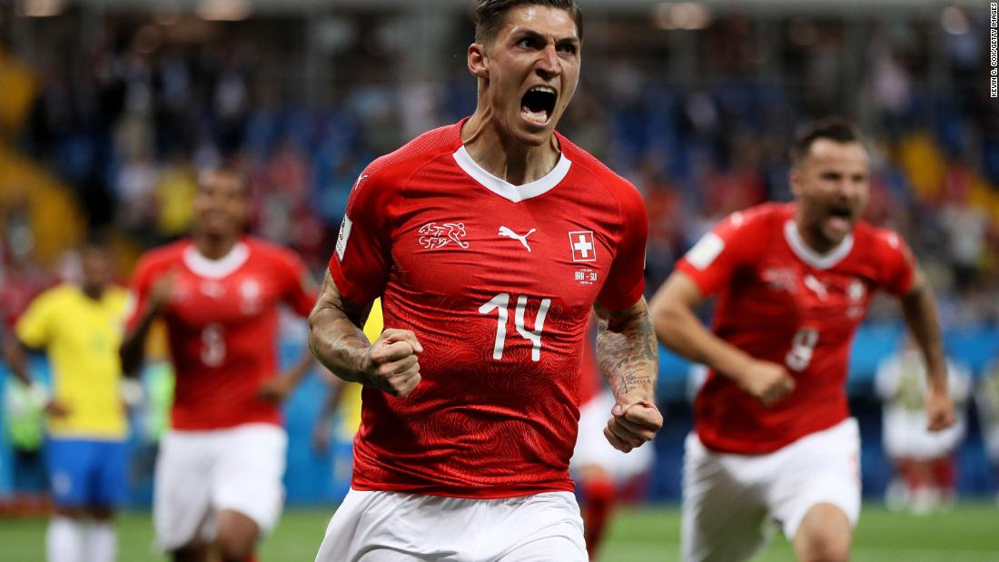 Switzerland's Steven Zuber celebrates after scoring a goal against Brazil on June 17. The two teams tied 1-1.