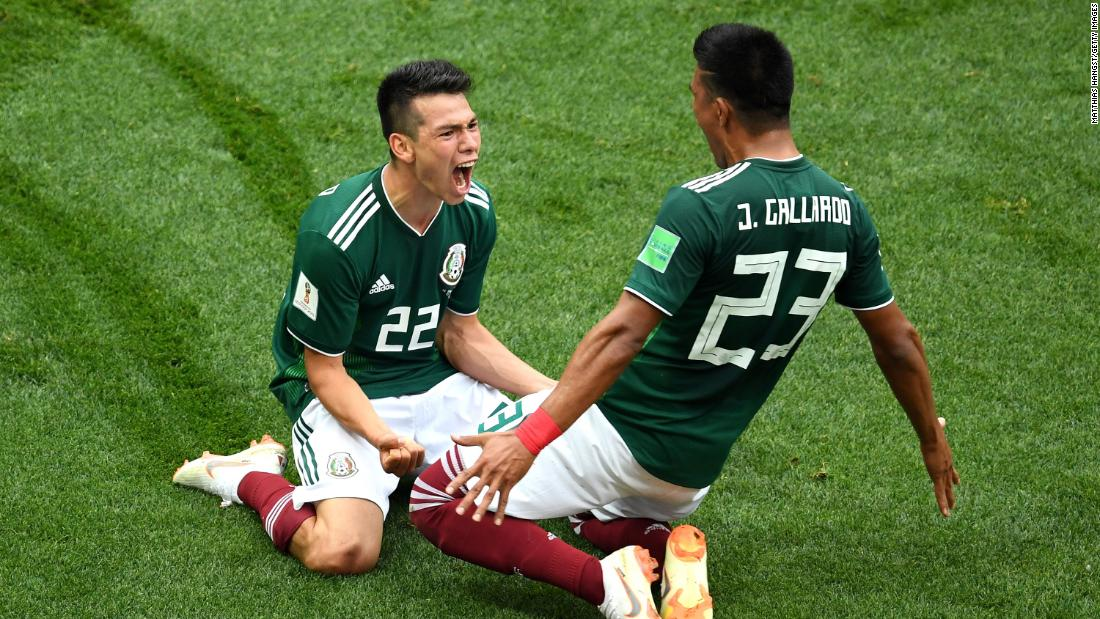 Mexico's Hirving Lozano, left, celebrates with Jesus Gallardo after scoring the only goal in the upset victory over Germany on June 17. Germany won the World Cup in 2014.