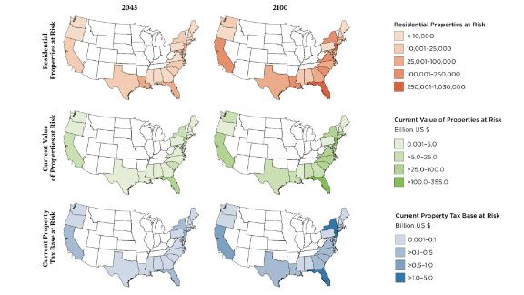 In the contiguous US, according to a new study from the Union of Concerned Scientists, more than 310,000 existing homes are projected to be at risk of chronic inundation by 2045, a number that grows to nearly 2.4 million by the end of the century. These maps from the study show what states have the most residential properties at risk in 2045 and 2100.