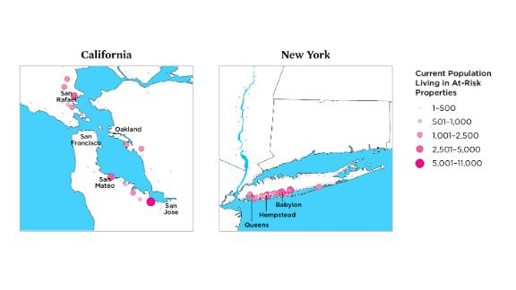 According to the study, densely populated areas in California and New York face significant exposure to chronic inundation by 2045. These snapshots from the study show just how many people are currently living in at-risk properties.