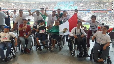 Members of the Fulfilling Dreams charity watched Mexico defeat world champion Germany on Sunday.