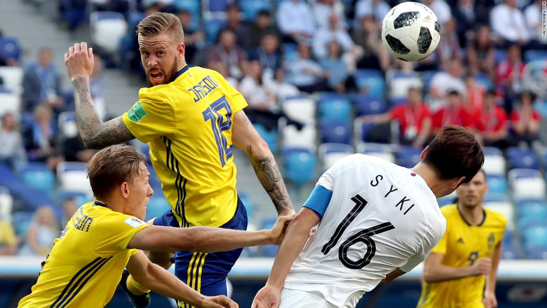 Sweden's Pontus Jansson, top left, and South Korea's Ki Sung-yueng try to head the ball during Sweden's 1-0 victory on June 18.